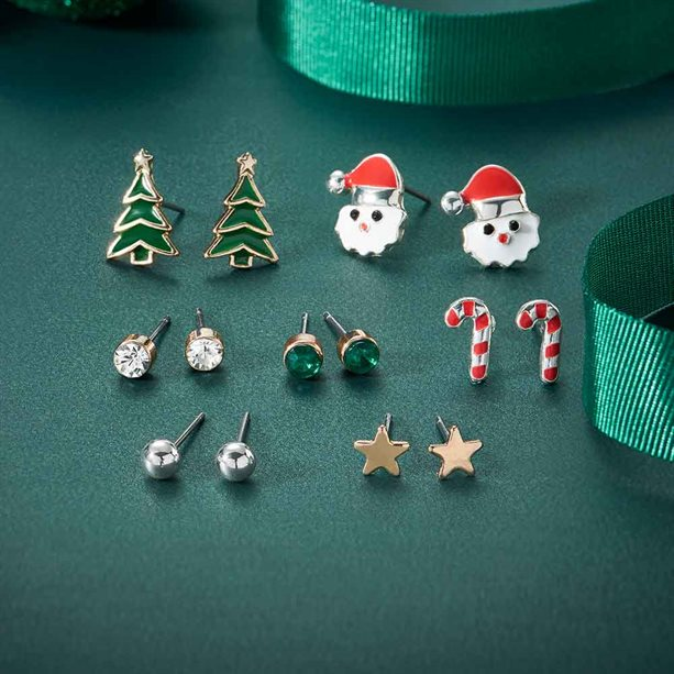 Avon 7 Piece Christmas Earring Gift Set