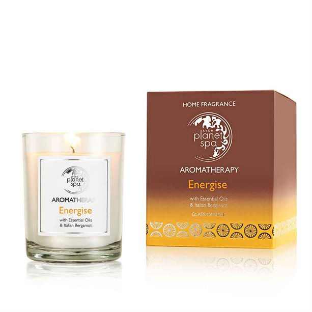 Avon Aromatherapy Essential Oils Energise Glass Candle - 160g