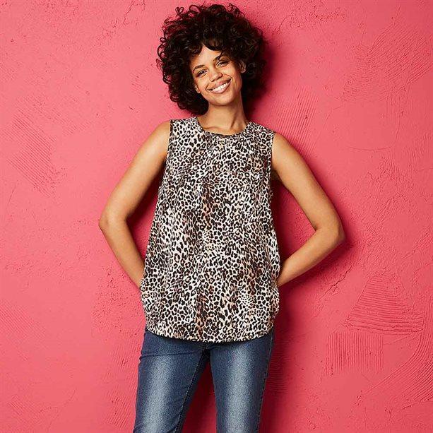 Avon Leopard Print Shell Top - Size 8