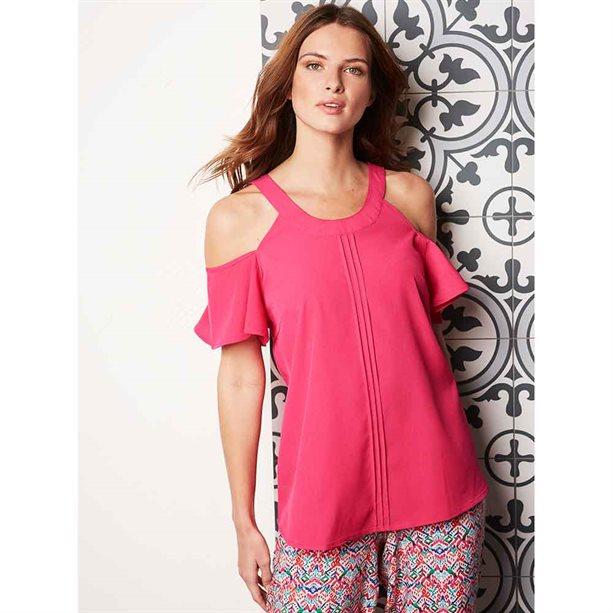 Avon Pink Cold Shoulder Fluted Sleeve Top - 8