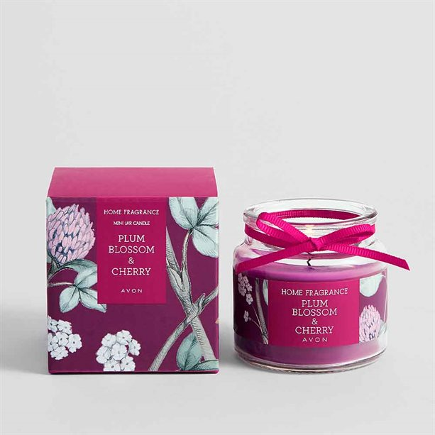 Avon Plum Blossom & Cherry Glass Jar Candle - 80g