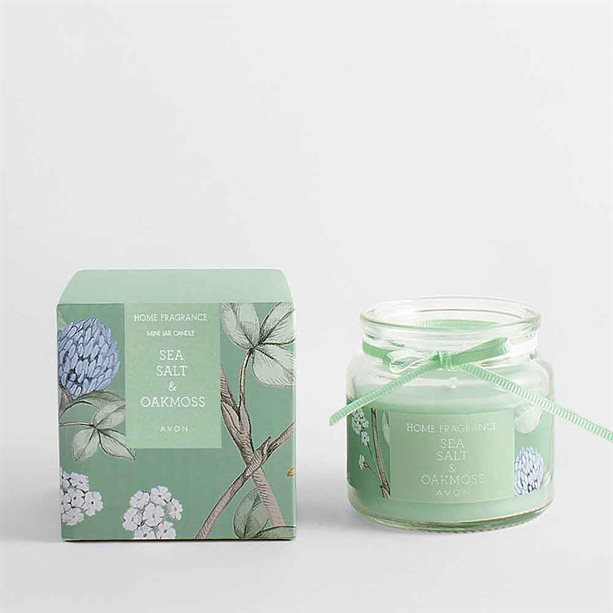Avon Sea Salt & Oak Moss Glass Jar Candle - 80g