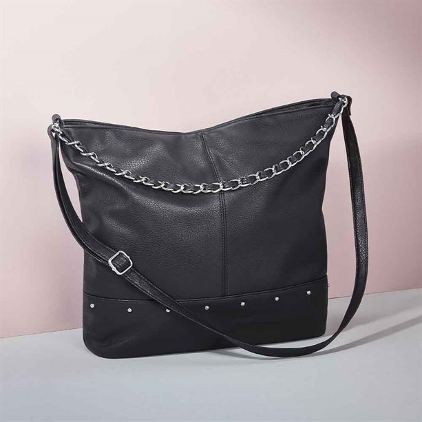 Avon Studded Faux Leather Hobo Bag